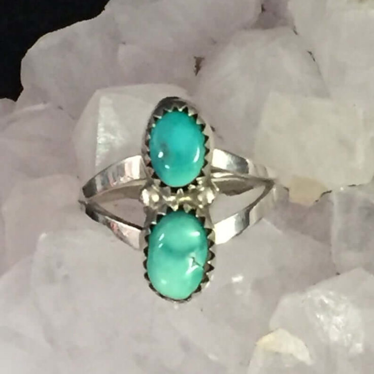 Turquoise Gemstone Ring 925 Sterling Silver Finger Size 7