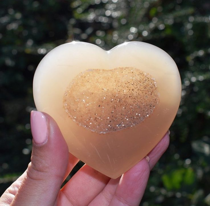 Unique Angel Aura Agate Druzy Crystal Heart in Gift Box - Gift of Love