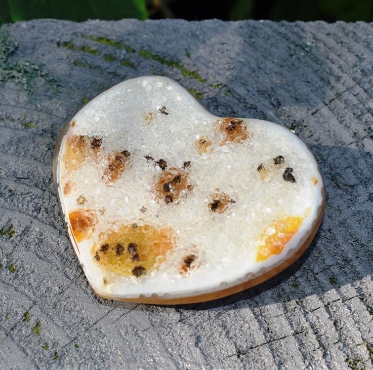 Unique Natural Agate Druzy Crystal Heart in Gift Box - Gift of Love