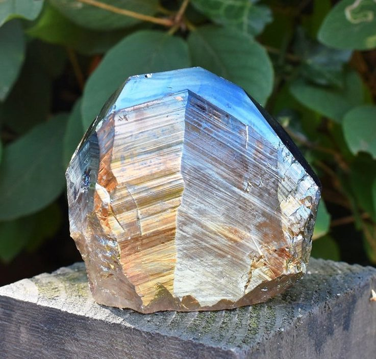 Unique Titanium Rainbow Aura Quartz Crystal Stone Point Piece 279g (Beautifully Gift Wrapped)