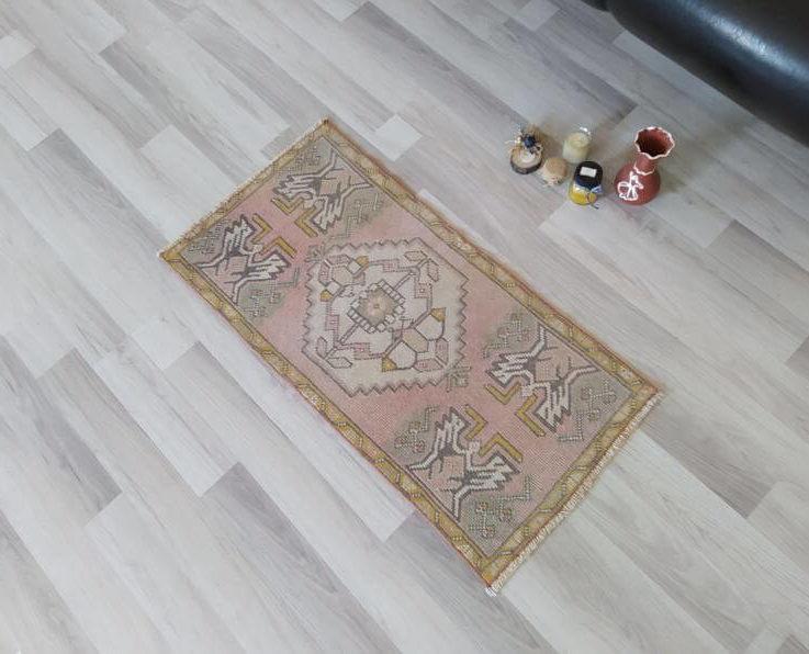 Vintage 2x3 rug, 1x3 rug, 1x2 rug, pink rug for girls room, pink rug bedroom, 2x4 rug, turkish rug pillow, oushak rug pink, 1'55'' x 3'1''