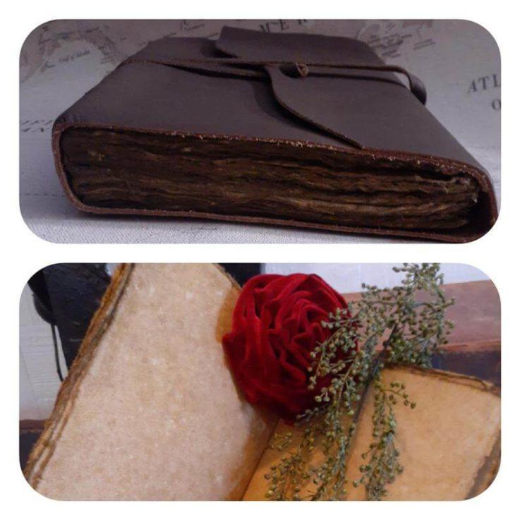 Vintage Leather Journal - Old Leatherbound Journal - Handmade Deckle Edge Paper - Leather Sketchbook -Thick Journal - Vintage Journal