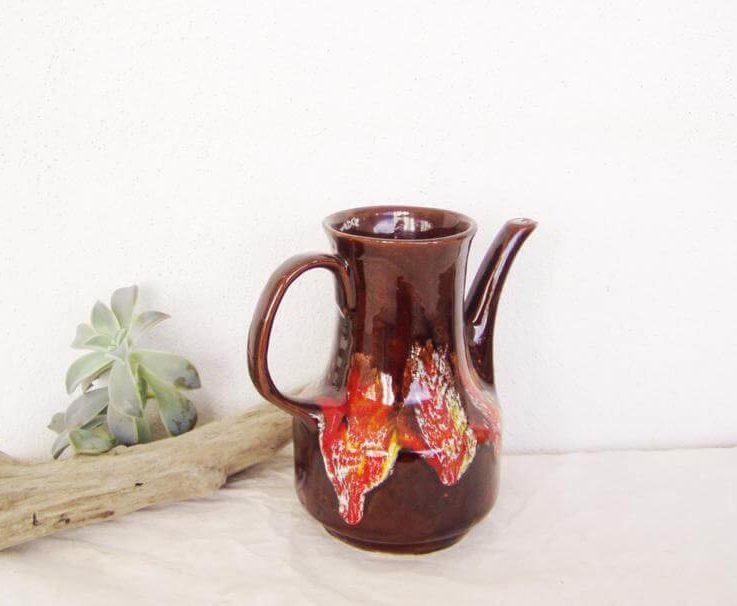 Vintage mid-century pitcher, brown-red pitcher of earthenware clay with long spout, mid-century, ceramic coffee pot, early sixties