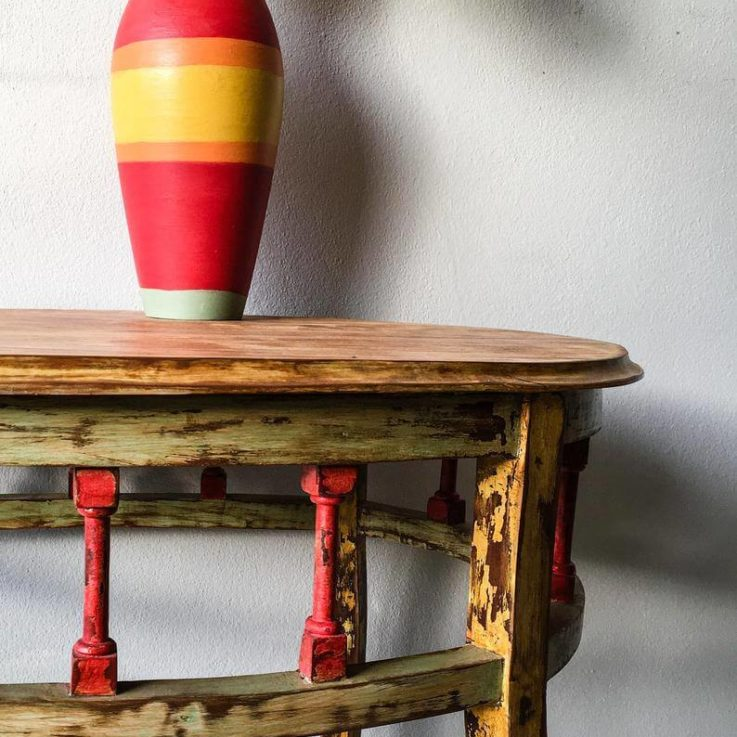 Vintage small oval table chippy paint look Hand painted