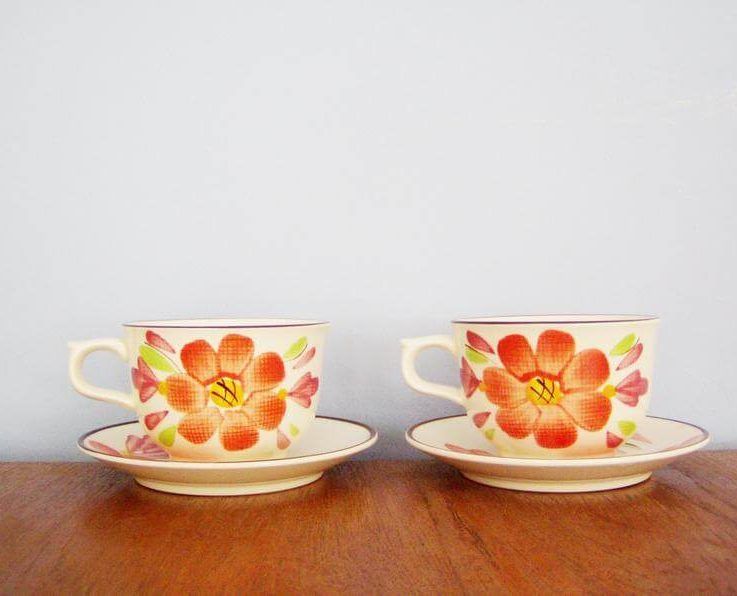 Vintage tea cups and saucers, colourful, Eighties earthenware set of two, large tea cups and their saucers, orange flowers tea cups
