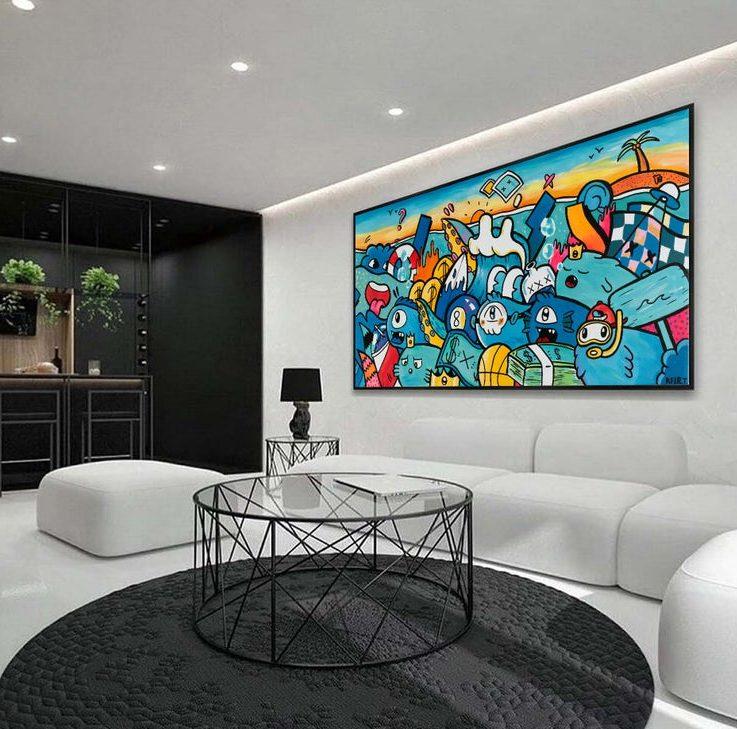 Wall Pop Art, Wall Decor Canvas Print, Graffiti Wall Art, Large Wall Art, Oversize Wall Decor, Wall Hanging, Outdoor Wall Art, Colorful Art
