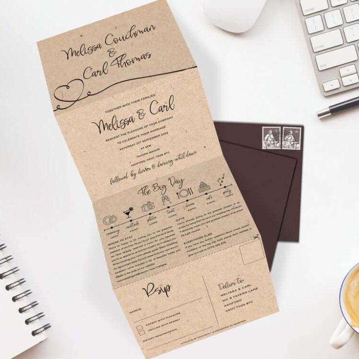 Wedding Invitation, Concertina Wedding Invite, Wedding Invitations Folded, Tri Fold Wedding Invitation, Wedding Invites, Kraft, Rustic
