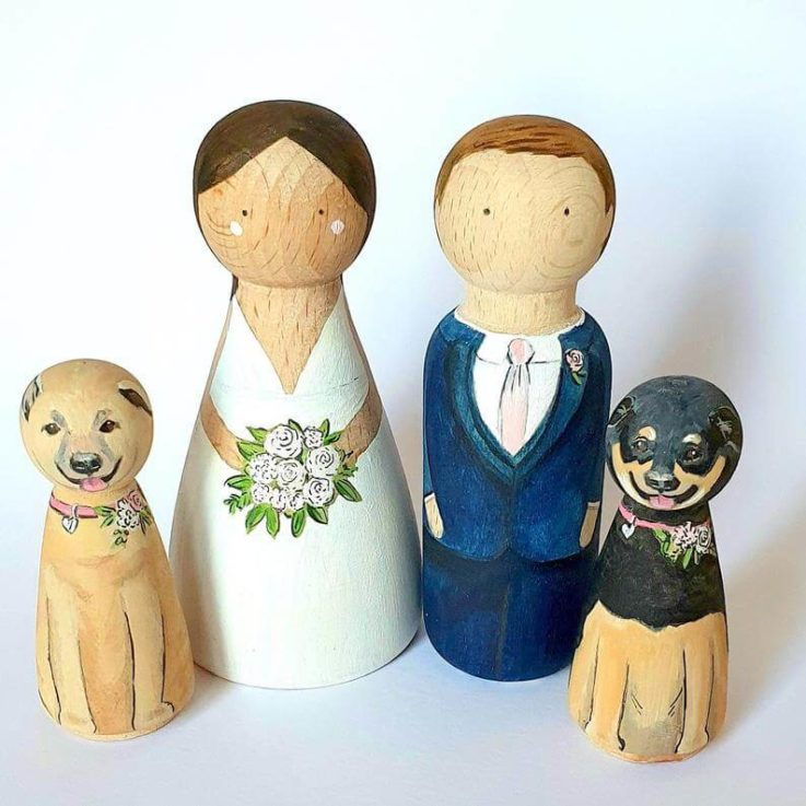 Wedding cake topper Wooden peg doll cake toppers Personalised bride and groom cake toppers