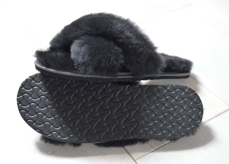 Woman Ladys OUTDOOR INDOOR 100% sheepskin fur Slip On Spa Sandals Bow Flat Mule Summer Sliders Slippers unique gifts present eco in UK