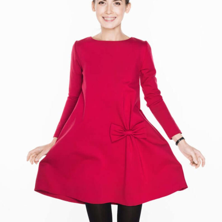 Women Red Dress, Fashion Dress, Stylish Dress, Loose Dress, Long Sleeve Dress, A Line Dress, Cocktail Dress, Elegant Dress, Formal Dress