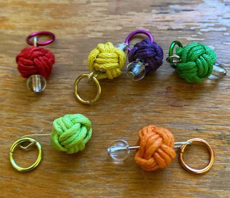 Yarn ball stitch markers, progress keepers, rainbow yarn balls