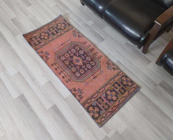 mall pink rug, 2x4 rug, vintage handmade rug, Oushak vintage rug, 2x4 vintage rug, 2x4 rugs, Turkish rug, Antique anatolian rug, 2'x4'7''