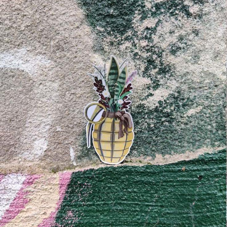 2 Hand Grenades Pineapple Flowers Planner Stickers FCK WAR Peace Peace