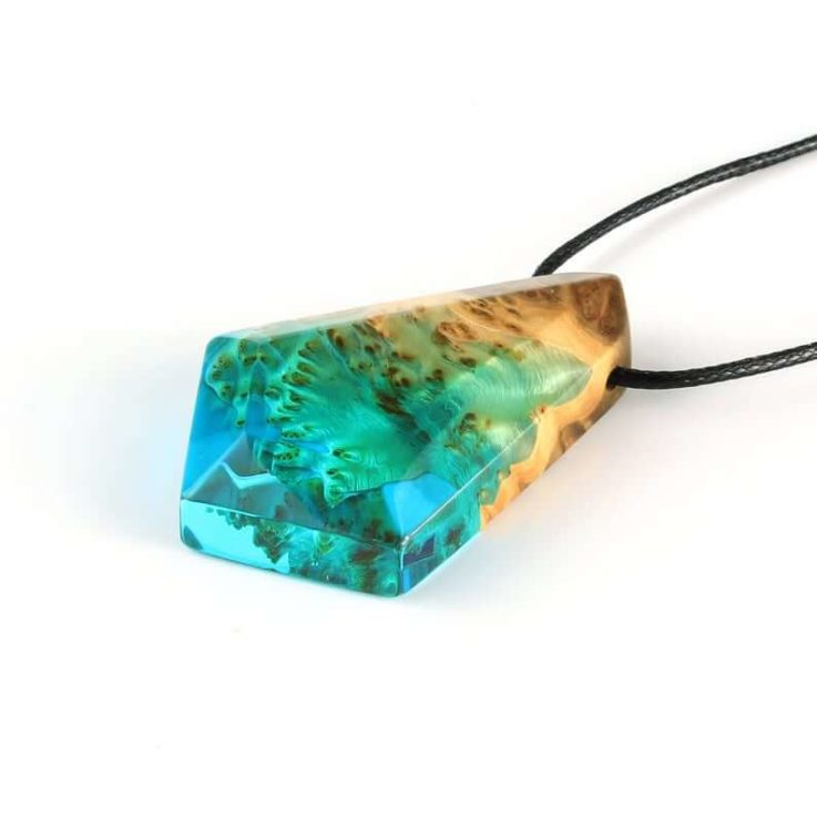 Aqua pendant, Wood resin pendant, Ocean necklace, Beach jewelry for her, Wanderlust jewelry, Festival nature pendant, Beach lovers gift