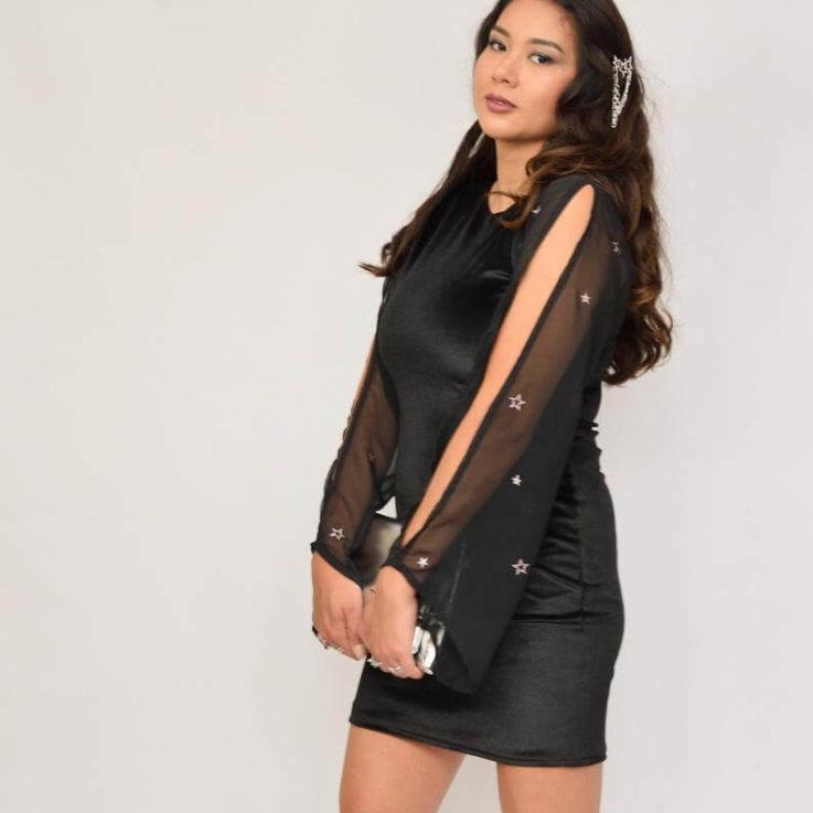Black velvet dress Black chiffon dress Star print Glitter star dress Split sleeve Black bodycon Velour LBD Black mesh dress Party dress