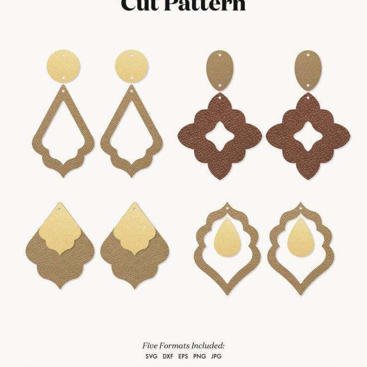 Bohemian Stacked Earrings SVG, Morocco Earrings SVG, Leather Earrings, Template Silhouette Cut Files, Cricut Cut Files Pendant DIY eps dxf