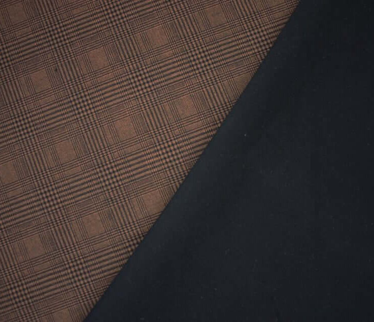 Checked Check Tartan Plaid Ponte Roma Double Stretch Jersey Knit Fabric Rustblack. By the metre