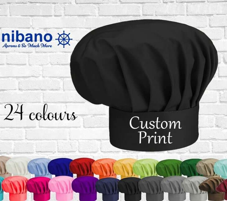 Chef Hat with print,Personalised Nibano Chef hat,Printed Kitchen Chef Hat for Women & Men with any text or logo,Professional Unisex Chef Hat