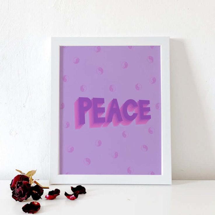 Contemporary Purple Peace Print Serenity Print Bedroom Wall Art Digital Art War and Peace Home Decor