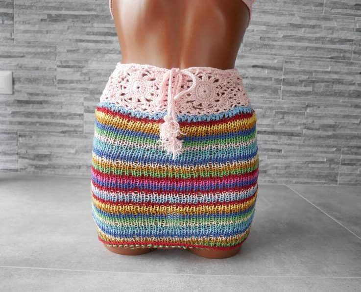 Crochet and knitted skirt, Colourful skirt, coconut buttons on the back, tassels string, size small