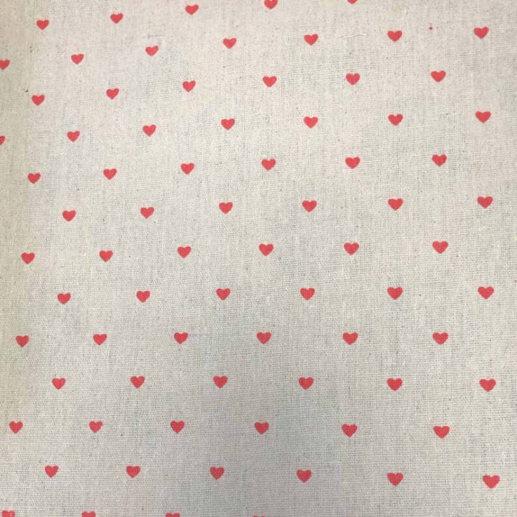 DaisiesHearts WhiteRed On Cream Rayon Linen Mix fabric. By the half metre. Multipurpose fabricquilting, crafts.