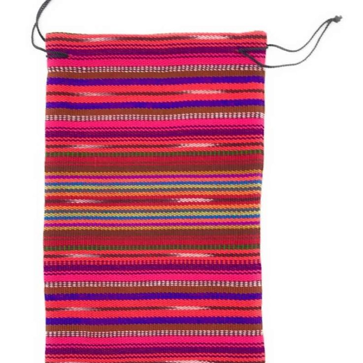 Drawstring Guatemalan 100% Cotton Bag - 6 in x 9.5 in Red