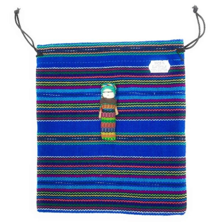 Drawstring Guatemalan 100% Cotton Bag with Worry Doll - 6 in x 9.5 in Blue