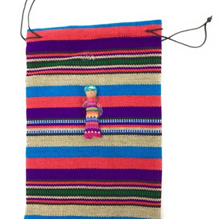 Drawstring Guatemalan 100% Cotton Bag with Worry Doll - 6 in x 9.5 in Multi-Colors
