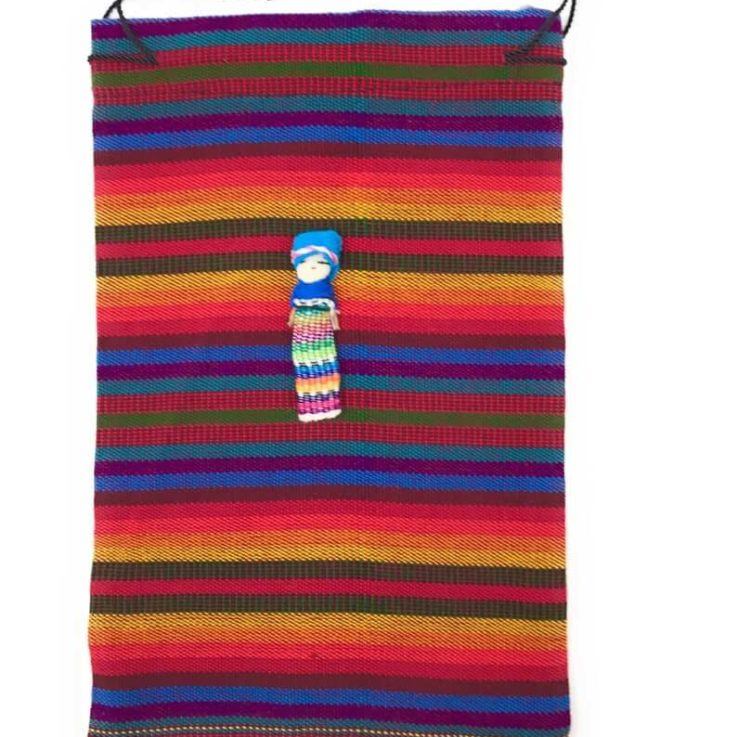 Drawstring Guatemalan 100% Cotton Bag with Worry Doll - 6 in x 9.5 in Orange