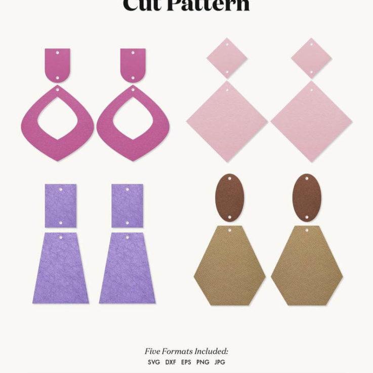 Earrings SVG Polymer clay Boho earrings template SVG, Leather Earrings, Silhouette Cut Files, Cricut Cut Files