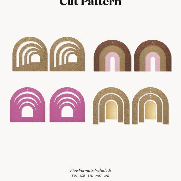 Earrings SVG Rainbow earrings template SVG, Leather Earrings, Clay Earring Template, Silhouette Cut Files, Cricut Cut Files dxf eps