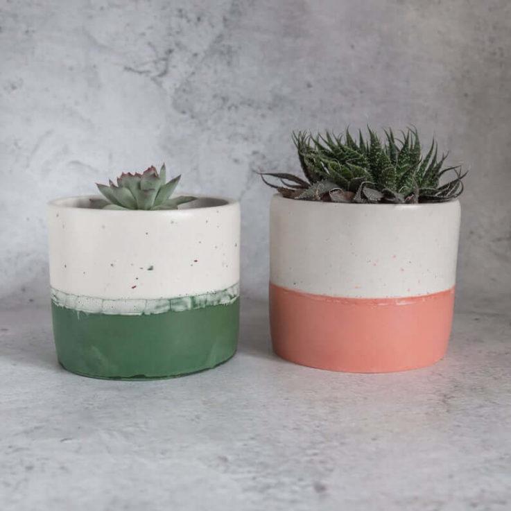 Forest green terrazzo Jesmonite plant utensil pot