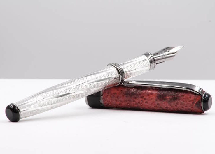 Fountain Pen Sterling Silver Sustainable Genuine Leather Handmade in Italy Red and Black