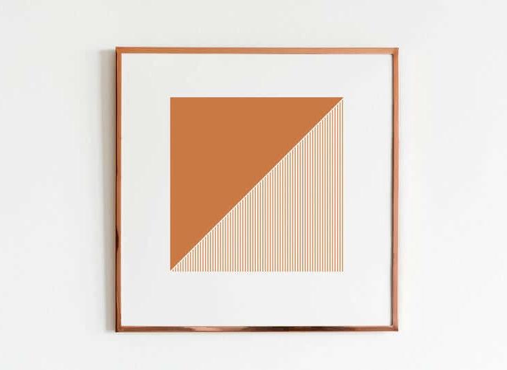 Geometric Square printable wall art, Digital Print, Orange Square wall art, Abstract art, Boho decor, Minimalist, Modern art