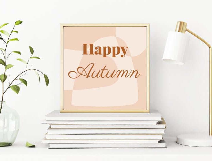 Happy Autumn Digital Wall Art, Square Wall Art Printable, Peach Fall Decor Digital Prints, Hello Fall Wall Art, Hello Fall Decor