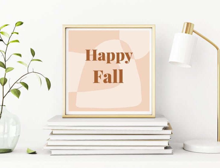 Happy Fall Wall Art, Square Peach Typography, Digital Download, Abstract Modern Wall Art, Fall Decor Wall Art Printable, Digital Prints