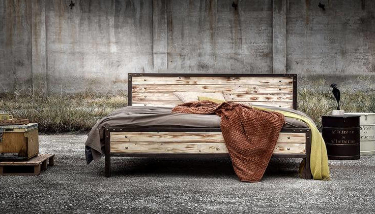 Iron and wood bed Industrial style Handmade -Model Mirto