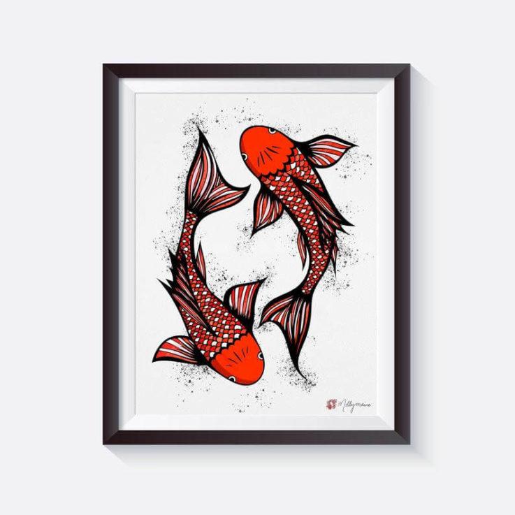 Japanese Koi Carp Signed Art Print by Molly Maine, printed on thick bamboo paper Japanese Wall Art Koi Fish Sea Life Art Print