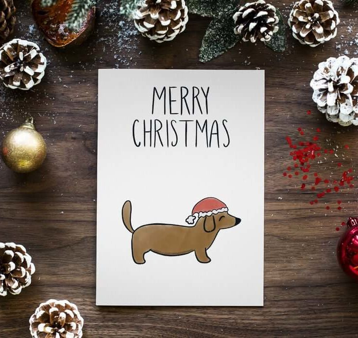 Merry Christmas Dashchund Card Christmas Cards Holiday Greetings Unique Cards Cards for Boyfriend Cards for Girlfriend