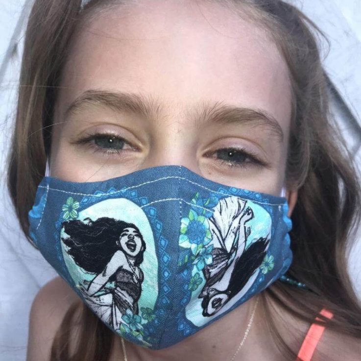 Moana Face Mask 100% Cotton Breathable Washable Reusable Double Layer Flexible Nose Wire Filter Pocket Adults & Kids Sizes Available