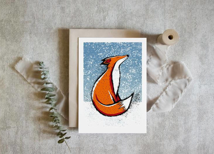 Pack of 10, 15 or 20 Christmas Cards Japanese Fox in the Snow Blank Inside • Sustainable Can be used for Birthdays & Thank You Cards