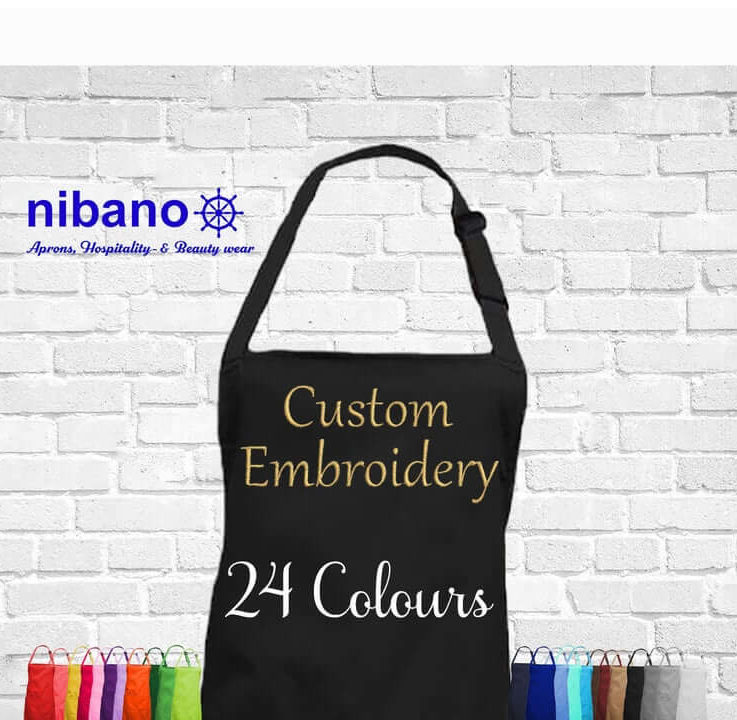 Personalised apron with embroidery, any name text or logo, bib apron with or without pocket cooking baking birthdays professional or gift