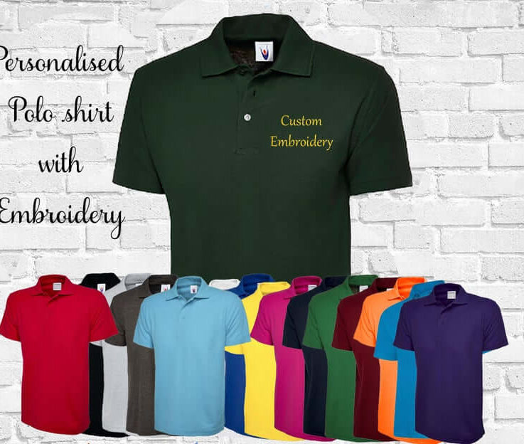 Personalised polo shirt short sleeved unisex with embroidery any name text or logo custom shirt custom collared shirt personalised shirt