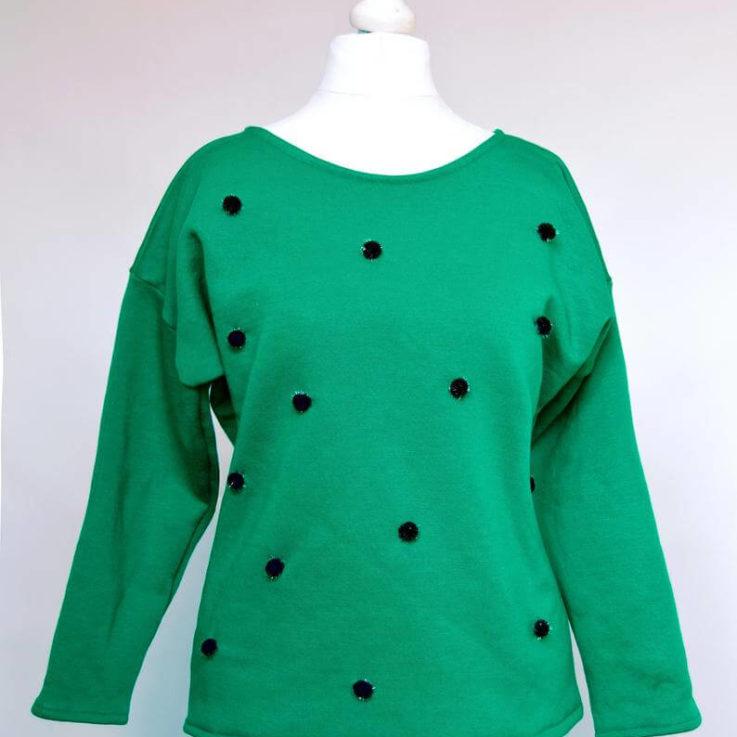 Pom pom sweater Green jumper Pom pom jumper Green sweatshirt Jade green sweater Tinsel pom pom Glitter jumper