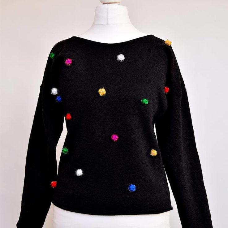 Pom pom sweater Multicolour jumper Glitter jumper Black sweatshirt Colourful sweater Tinsel pom pom Christmas jumper