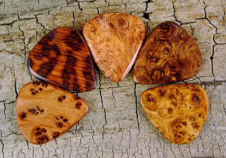 Rare Woods -One Rare Wood Guitar Pick - Very Rare Woods - Limited Availability - Rare Burls -Grain Patterns and Colors Vary-Wood Guitar Pick