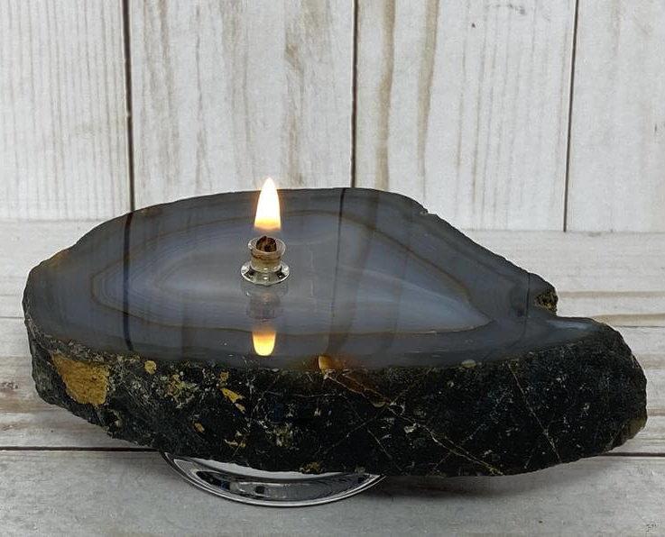 Rock oil candle - agate rock oil candle, agate oil candle, agate oil lamp, agate geode