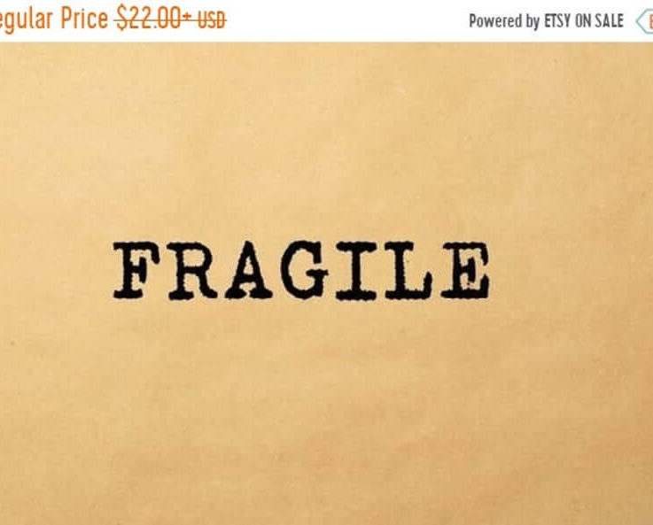 SALE Fragile Text Rubber Stamp, Mail Rubber Stamp, Office Stamp, Shop Stamp, Box Stamp, Wood Handle or Self Inking