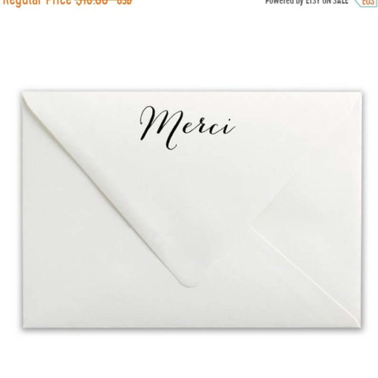 SALE Merci Rubber Stamp Calligraphy Stamp Custom Rubber Stamp Merci Stamp, Wood Handle or Self Inking