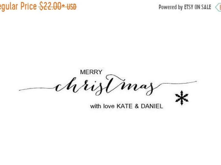 SALE Merry Christmas Stamp Calligraphy Stamp Family Christmas Stamp Personalized Christmas Stamp Wood Handle or Self Inking